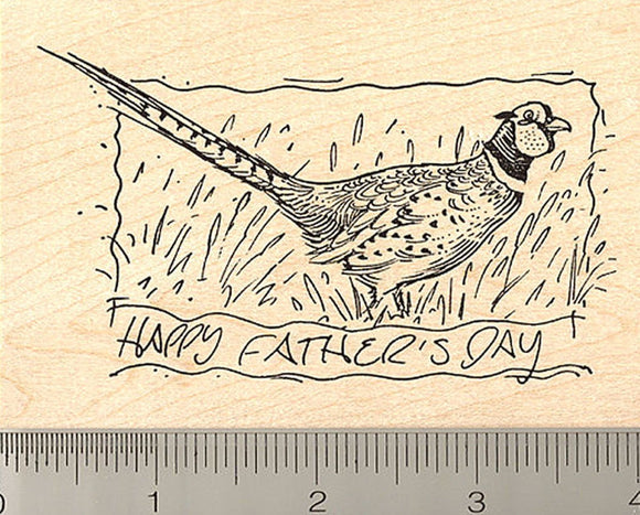 Father's Day Pheasant Rubber Stamp