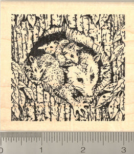 Opossum Family Rubber Stamp, Possums, North American Marsupials