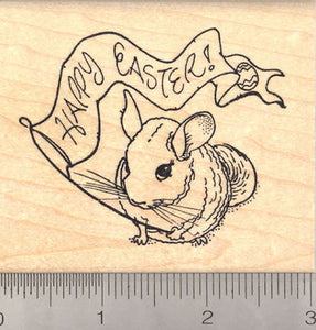 Happy Easter Chinchilla Rubber Stamp