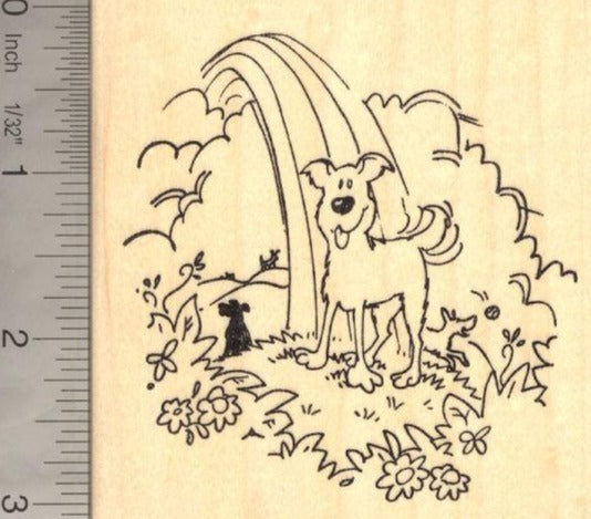 Dog at Rainbow Bridge, Pet Loss Rubber Stamp