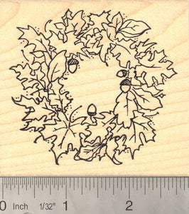 Autumn Wreath Thanksgiving Rubber Stamp