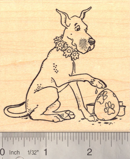 Easter Great Dane Rubber Stamp, Paw Painting Eggs