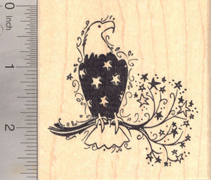 American Eagle Rubber Stamp, with Patriotic Feathers (fourth of July, July 4th)