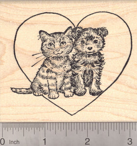 Valentine's Day Kitten and Puppy Rubber Stamp, Cat and Dog
