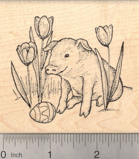Easter Pig with Painted Egg and Tulips Rubber Stamp