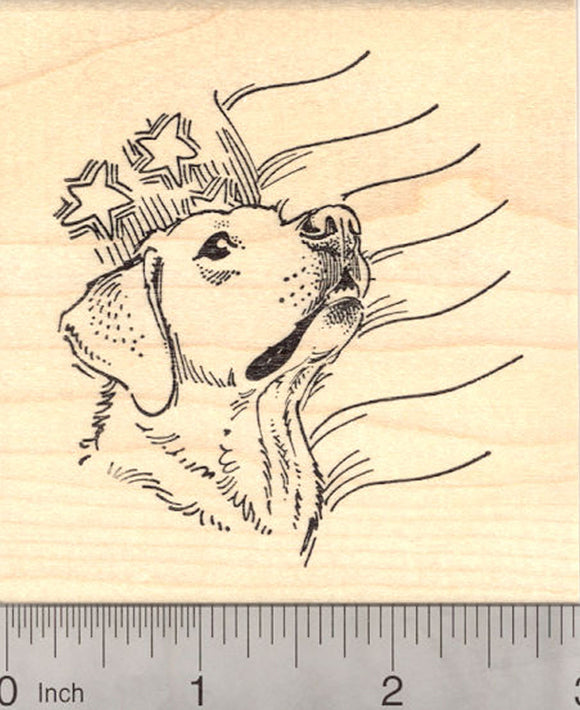4th of July Labrador Retriever Dog Rubber Stamp, with American Flag