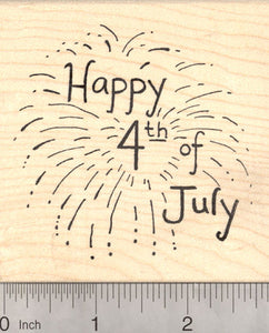 Happy 4th of July Rubber Stamp, Fireworks Display