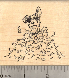 Terrier Dog Rubber Stamp, in Autumn Leaves