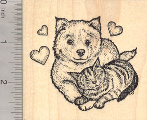 Valentine's Day Cat Rubber Stamp, with Samoyed Dog