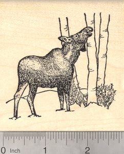 Female Moose Rubber Stamp, Alaska, Large