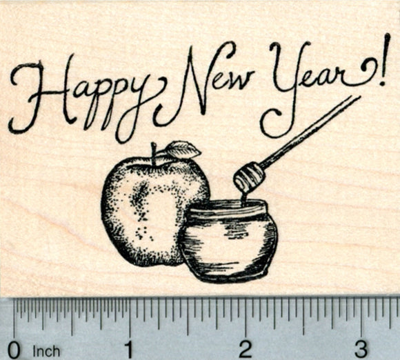 Rosh Hashanah Rubber Stamp, Apple with Honey