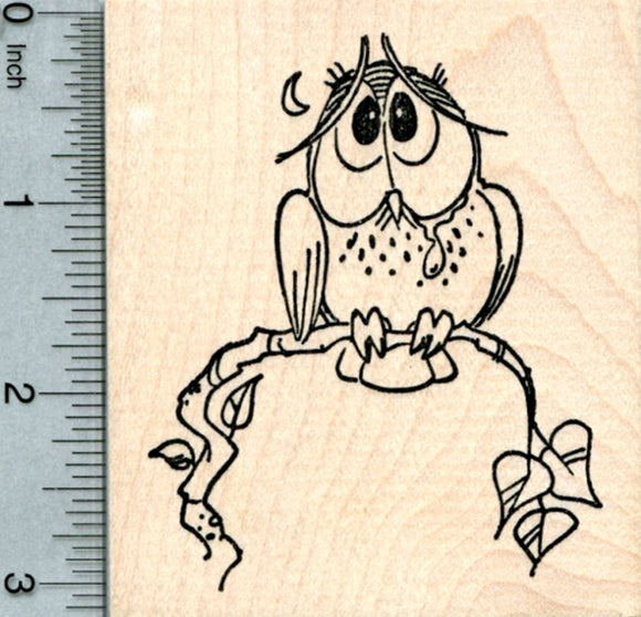 Sad Owl Rubber Stamp
