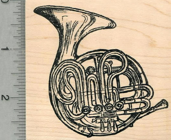 French Horn Rubber Stamp, Brass Musical Instrument Series
