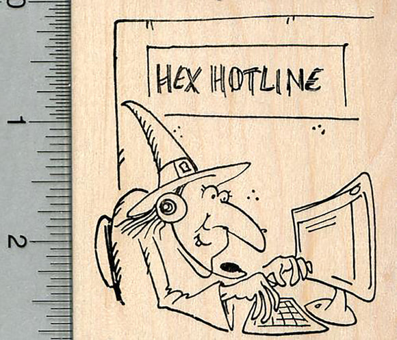 Halloween Witch Rubber Stamp, Hex Hotline