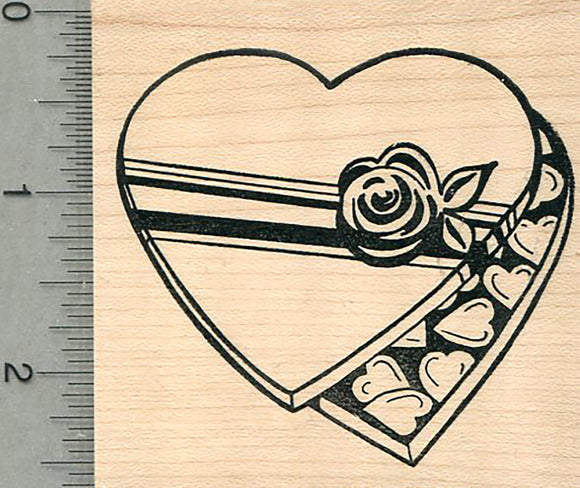 Valentine's Day Rubber Stamp, Heart Shaped Candy Box