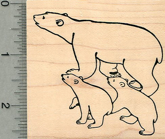 Polar Bear Rubber Stamp, Mom with two Cubs