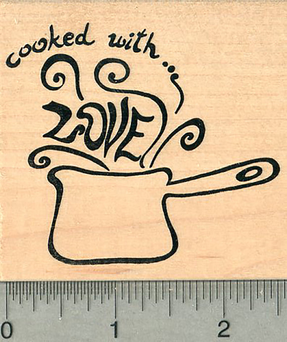 Home Cooking Rubber Stamp, Cooked with Love