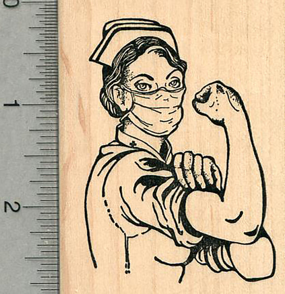 Nurse Rubber Stamp, Rosie the Riveter Pose 2 3/4