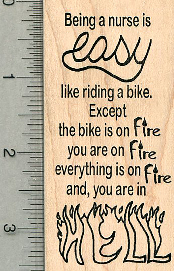 Nurse Appreciation Rubber Stamp, Nursing is like Riding a Bike Series