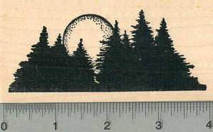 Evergreen Trees Rubber Stamp, Sunrise or Sunset, Scenery Series