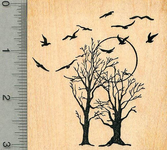 Bare Trees Rubber Stamp, with Birds, Scenery Series