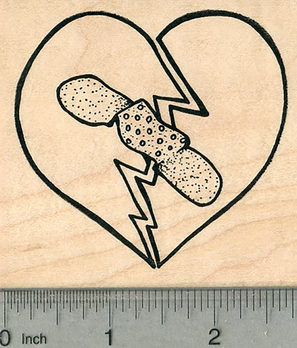 Broken Heart Rubber Stamp, With Bandage