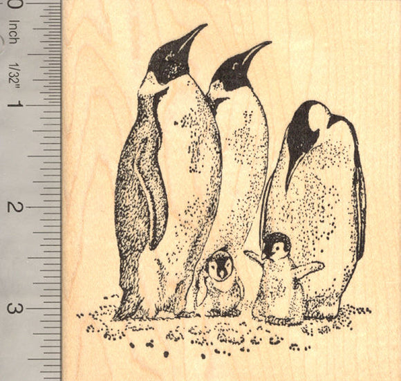 Emperor Penguins with Chicks Rubber Stamp