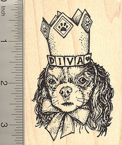 Cavalier King Charles Spaniel Rubber Stamp, Dog Diva in Hat