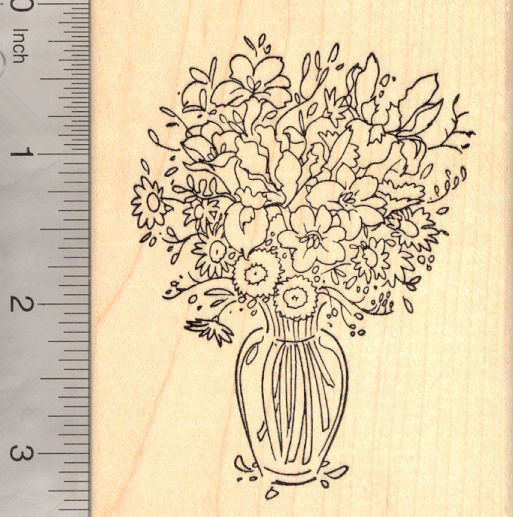 Flower bouquet in vase Rubber Stamp