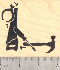 Father's Day Carpenter Tool Silhouette Corner Frame Rubber Stamp