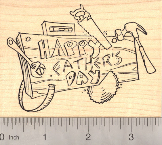 Happy Father's Day, Woodworking Rubber Stamp for Handy Dads