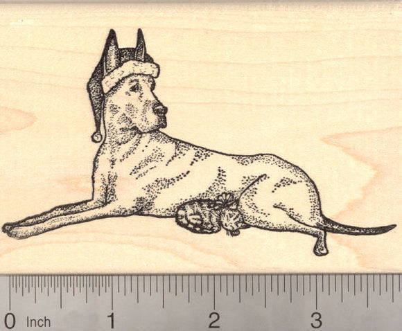 Christmas Great Dane Dog and Tiny Kitten Rubber Stamp, Cat