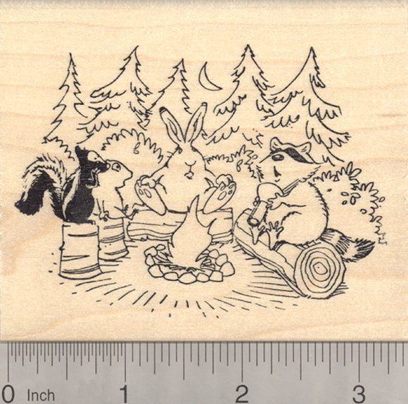 Campfire Rubber Stamp, Woodland Ghost Stories, Raccoon, Skunk, Rabbit, Chipmunk