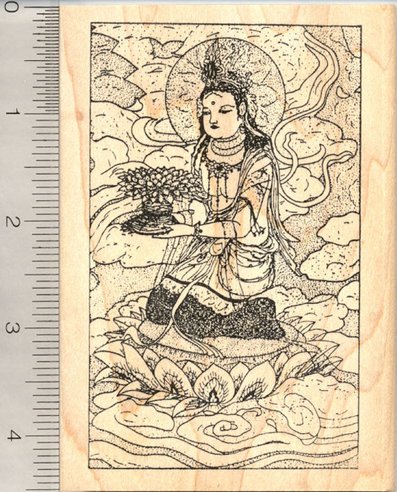 Buddhist Guanyin Rubber Stamp, on Lotus Pedestal, Goddess of Mercy Chinese mythology, Kannon