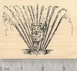 Sprinkler Dog Rubber Stamp, Summer Fun in the Sun