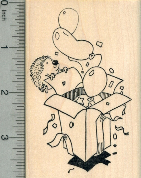 Hedgehog Birthday Rubber Stamp, Surprise Party Balloons in Box