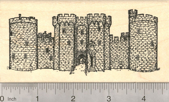Bodiam Castle Rubber Stamp, Historical Moated English 14th Century Castle, East Sussex