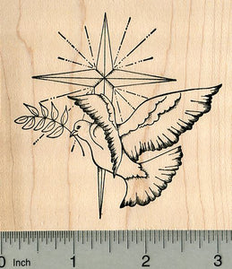 Christmas Dove Rubber Stamp, with Star and Olive Branch, Christian Series