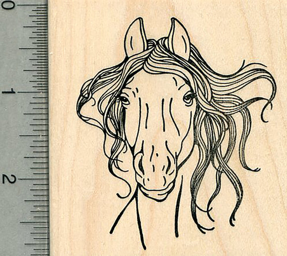Horse Face Rubber Stamp, Portrait with Mane