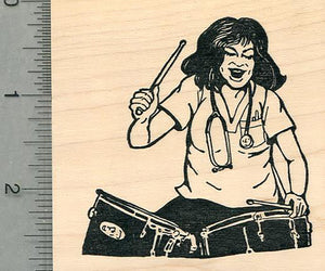 Nurses Rock Rubber Stamp, with Drums, Healthcare Heroes Series