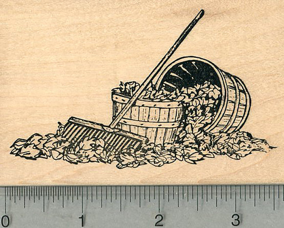 Autumn Leaves Rubber Stamp, with Rake and Baskets