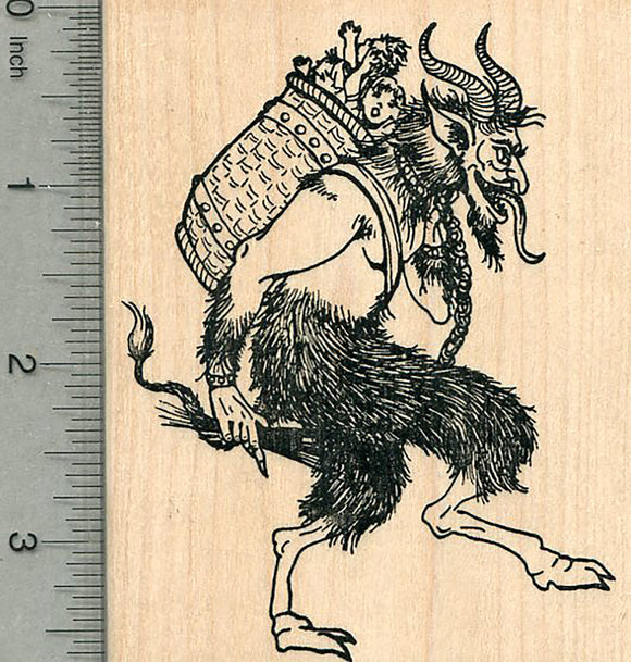 Krampus Rubber Stamp, Carrying Naughty Children in Wicker Basket, Facing Right
