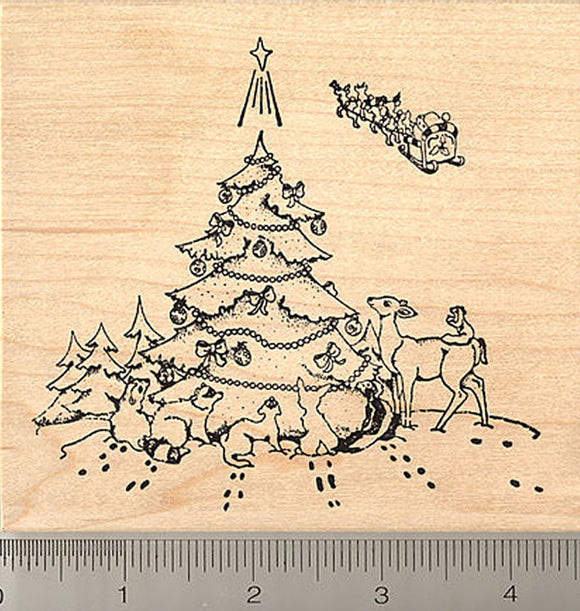 Christmas Wildlife Rubber Stamp, Santa's Gift, Deer, Skunk, Squirrel, Ferret, Raccoon, Opossum, Rabbit