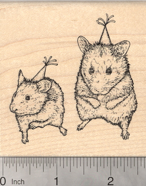 Birthday Party Hamsters Rubber Stamp