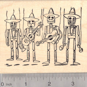 Day of the Dead Mexican Mariachi Band Rubber Stamp, Marionettes Día de los Muertos
