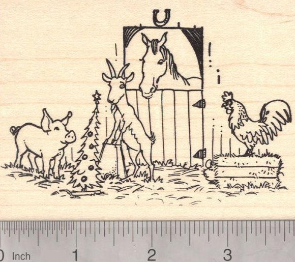Christmas Barn Scene Rubber Stamp, Featuring Pig, Goat, Horse, and Rooster
