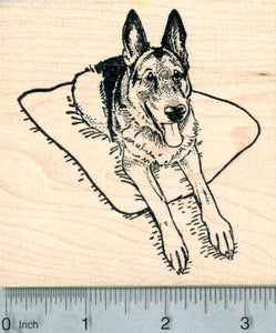 German Shepherd Rubber Stamp, Happy Dog on Pillow
