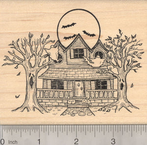 Halloween Haunted House Rubber Stamp Featuring Ghosts, Bats, and Haunted Trees