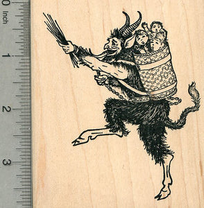 Krampus Rubber Stamp, Frolicking with Naughty Children in Wicker Basket, Facing Left