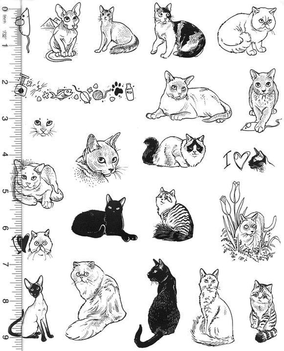 Full Sheet of Cat Rubber Stamp Dies (Black Cat, Persian, Siamese, Burmese, Somali, Ragdoll)